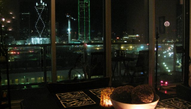 Breathtaking, panoramic Downtown Dallas views in a high rise home.